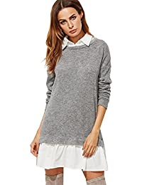 Women's Contrast Collar and Hem Color Block 2 In 1 Basic Sweater Dress