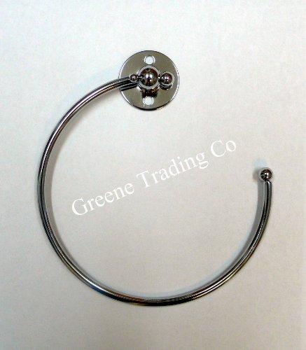CHROME CHROMED STEEL TOWEL RING RAIL HOLDER WITH SCREWS/FITTINGS Bathroom