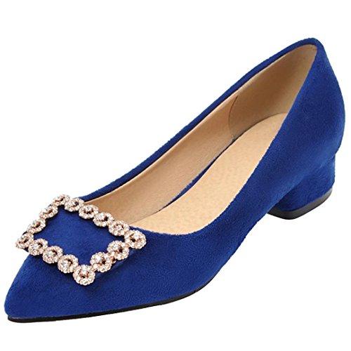 AIYOUMEI Damen Spitze Pumps mit Blockabsatz Chunky Heel Pumps mit Glitzer blau(nubukleder)