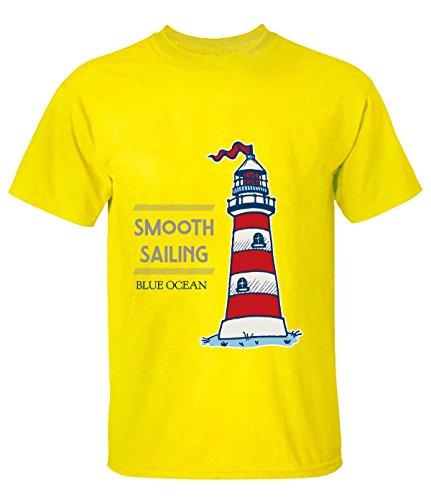 Crossing Men Smooth Sailing Blue Ocean Desire T Shirts XXL yellow