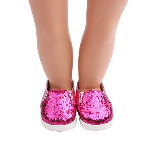FTXJ American Doll Shoes, Glitter Doll Shoes Star Dress Shoe for 18 Inch Our Generation American Girl Doll (fit for 18 inch Dolls, Hot Pink) from FTXJ
