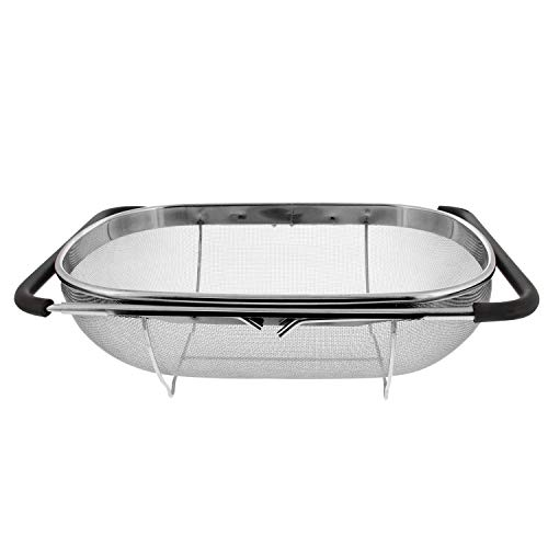 (SODIAL Premium Quality Over The Sink Stainless Steel Oval Colander with Fine Mesh 6 Quart Strainer Basket & Expandable Rubber Grip)