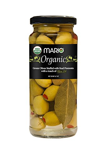 Olives Pimiento Stuffed (Mario Camacho Organic Green Olives Stuffed with Real Pimiento and Touch of Olive Oil, 6.7 Ounce)