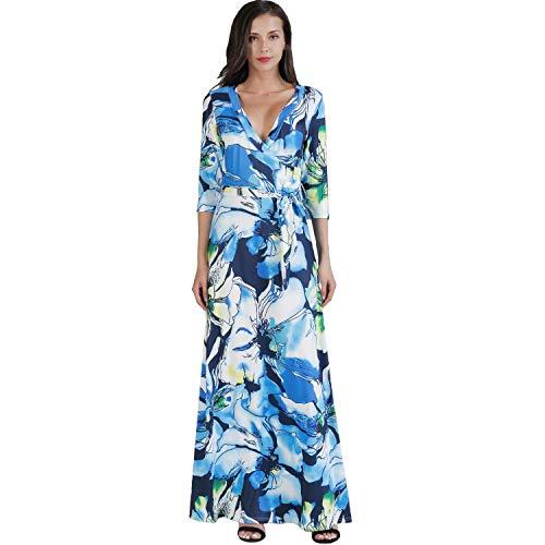 Aublary Women's V Neck Floral Maxi Dress 3/4 Sleeve Faux Wrap Maxi Long Dresses with Belt, Blue 2XL