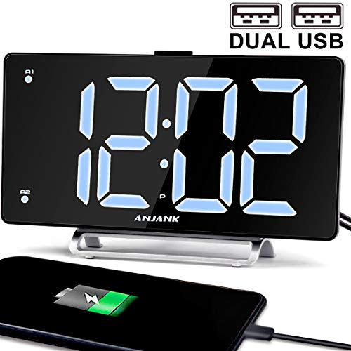 K-star 9 Digital Alarm Clock Large LED Display Dual Alarm with USB Charger Port for Bedrooms Bedside Desk Clocks Big Number Simple Seniors Clock