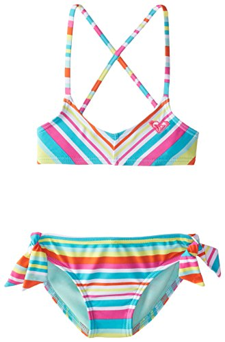 Roxy Little Girls' Surf's Up Striped Bandeau Set, Turquoise, 4