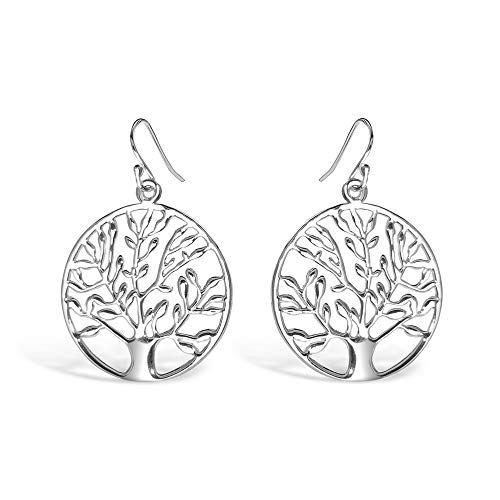 (925 Sterling Silver Filigree Tree of Life Dangle Earrings - 25mm Circle Dangling Earrings)