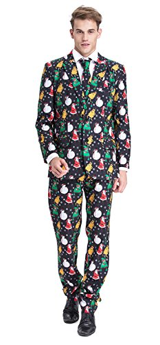 Xmas Costumes (YOU LOOK UGLY TODAY Mens Bachelor Party Suit Funny Costume Novelty Xmas Jacket with Tie CHRISTMAS SNOWMAN-X Large)
