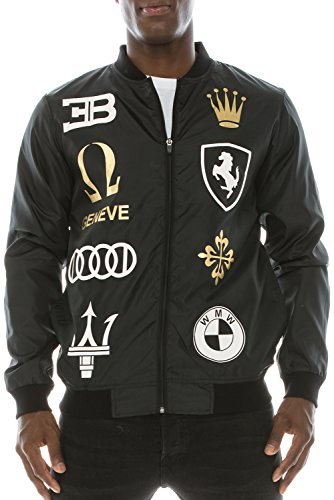 JC DISTRO Mens Hip Hop Racing Logo Graphics Bomber Windbreaker Black Jacket 2XL (Graphic Bomber Jackets For Men)