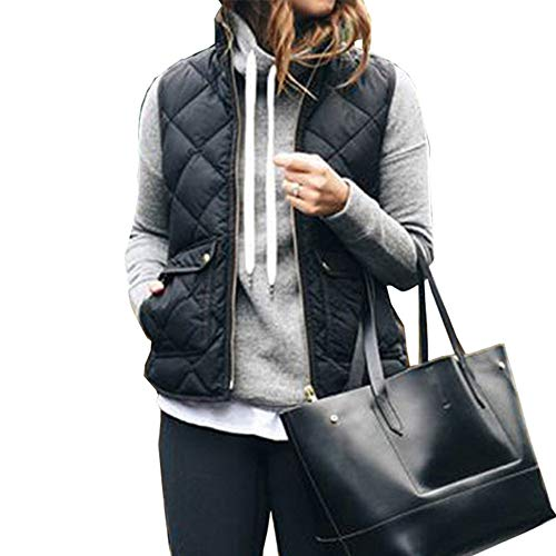 (Women's Hooded Thicken Quilted Outwear Jacket Vest Sleeveless Waistcoat (US6/M, Black))