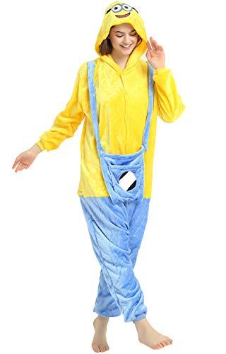 Indiefit Adults Onesie Pyjamas Flannel Animal Cosplay Costume Hoodie Sleepwear Nightgown minions-XL ()