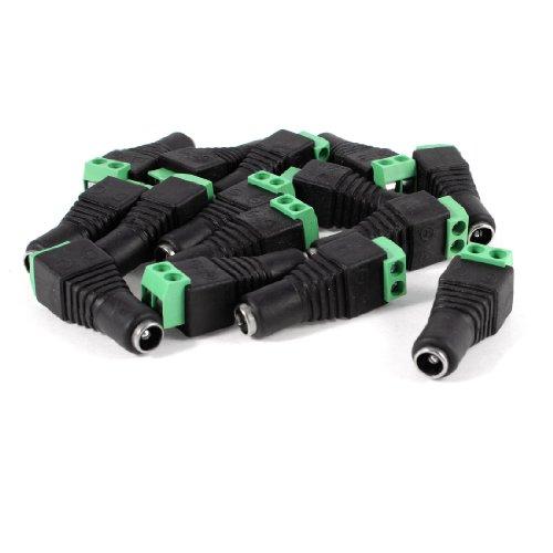 TOOGOO(R) 15 Pcs Black Green 5.5x2.1mm Female CCTV DC Power Connector Plug Adapters