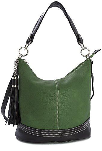 BHBS Bolso de Hombro de Diseño para Dama tipo Satchel y Asa Superior 34x28x18 cm (LxAxP) Verde - Lush Green