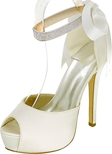 Ribbon Bridesmaid Rhinestone Strap Bride Ankle Work Ladies Prom 08e Comfort Wedding 37 Satin Peep Eu Dress 3128 Platform Toe Pumps Party Ivory 64XZW4TI