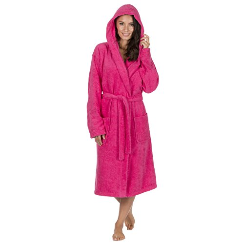 Forever Dreaming Ladies 100% Cotton Terry Towelling Hooded Robe (XL, Hot Pink)