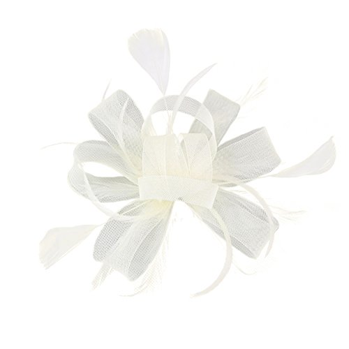 Auranso Flax Hair Clip Feather Barrette Hairpin Party Fascinator Headband Cocktail Hat for Women ()