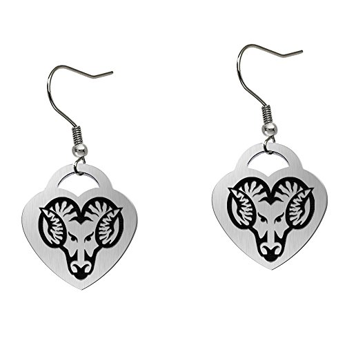 West Chester Golden Rams Satin Finish Large Stainless Steel Heart Charm Earrings - See Model for Size Reference by College Jewelry