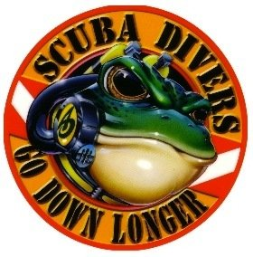 New 5 Inch Amphibious Outfitters Scuba Frog Die Cut Sticker Decal for Your Boat, Tanks or Auto - Scuba Divers Go Down Longer