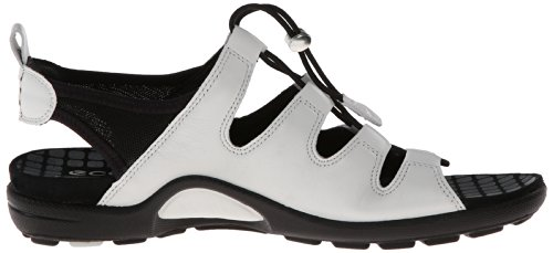 Ecco Jab Sandal Black/Black Feather/Tex/Sole Jab Toggle Sandal - Mocasines de cuero para mujer, color negro, talla 36 Blanco/Negro