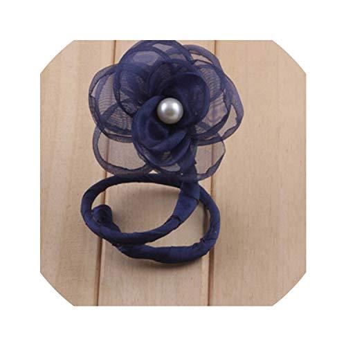 (Peal Flower Bow Hair Clips Elastic Hair Ties Bun Diy Tool Women Girl Barrettes Headdress Hair Acces,Navy Blue)
