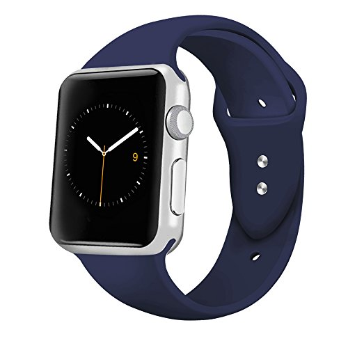 iGK Sport Band Compatible for Apple Watch 42mm, Soft Silicone Sport Strap Replacement Bands Compatible for iWatch Apple Watch Series 3, Series 2, Series 1 42mm Midnight Blue Large