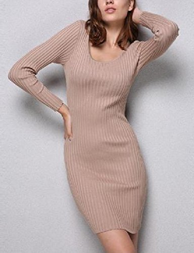 Khaki Women Dress Lounge Sleeve Long Coolred Pencil Sexy Knitting Party pR7n7z8