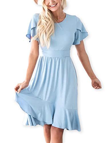 AOOKSMERY Women Casual Brief Dresses Flutter Sleeve Ruffle Midi Dress with Belt Sky Blue