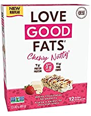 Love Good Fats – Chewy Nutty White Chocolatey Strawberry – Keto-Friendly Protein Bar with Natural Ingredients – Low Sugar, Low Carb, Non GMO, Gluten & Soy Free Keto Snacks 12 - Pack