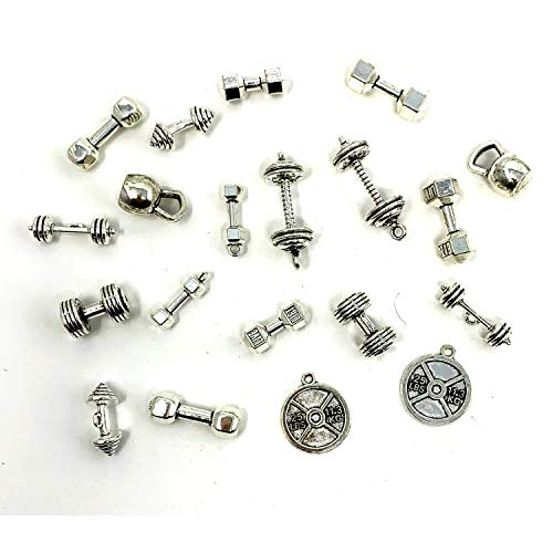 Sports Charms Collection - JIALEEY Mixed Kettle Bell Dumbbell Barbell Weight Charms Sport Charm for DIY Fitness Necklace Jewelry Making 20pcs(100g)
