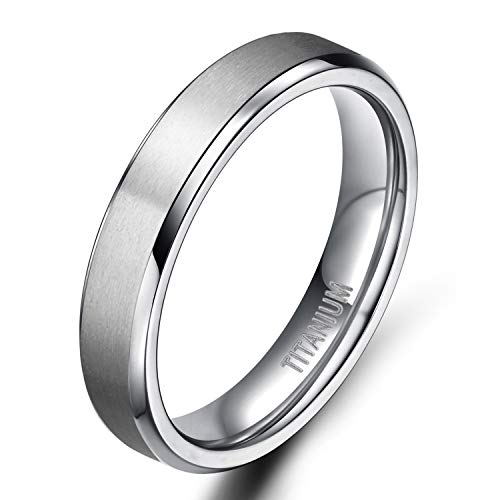 TIGRADE Unisex 4MM Titanium Brushed Finish Beveled Edge Classy Rings Wedding Band Size 4-15(9)