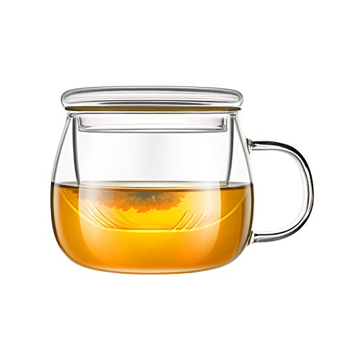 Urn System Brewing - Lezero 13 ounce Tea Cups Kits Loose Tea-leaf Brewing System, Thickened Glass Cups with Tea Infuser Basket and Lid, Simple Filtration Teacups Great for Family Daily