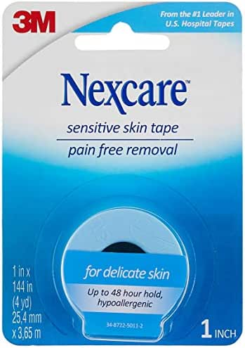Nexcare Sensitive Skin Tape, Pain-Free Removal, Hypoallergenic, 1-inch X 4 Yard Roll (Pack of 6)