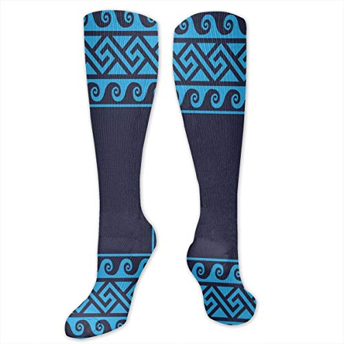 Compression Socks,Swirling Waves With Ancient Maze Square Hellenic Motifs Sea Inspired Design (Maze Runner Costume)