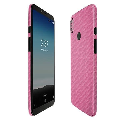 Skinomi Pink Carbon Fiber Full Body Skin Compatible with BLU Vivo Go (Full Coverage) TechSkin with Anti-Bubble Clear Film Screen Protector