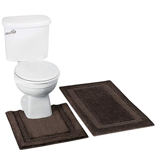 Espresso Rug - mDesign Soft Microfiber Polyester Spa Rugs for Bathroom Vanity, Tub/Shower - Water Absorbent, Machine Washable - Includes Plush Non-Slip Rectangular Accent Rug and Contour Mat - Set of 2, Espresso