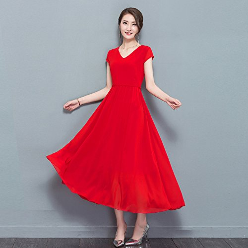 FrauenSommerChiffon Kleid VAusschnitt Eine Linie Langes Maxi Rotes ...