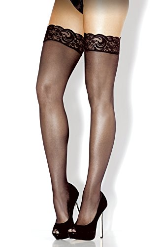 Fantasy Lingerie Women's Plus-Size Queen Lace Top Sheer Thigh High Stockings, Black