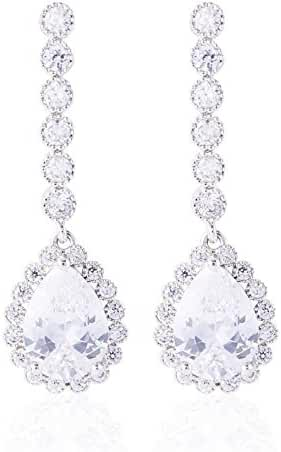 GULICX Pear Drop White Cubic Zirconia Bridesmaid Dangle Earrings Silver Plate Base Wedding