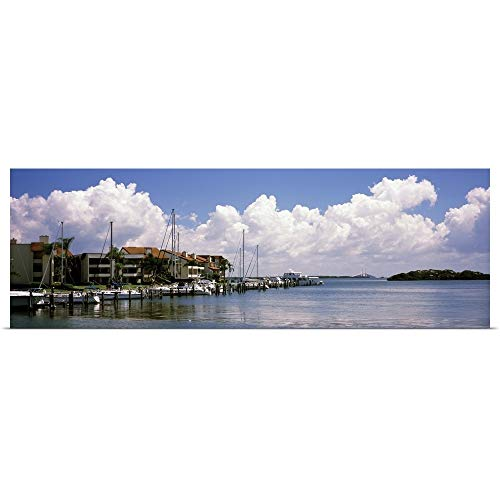 GREATBIGCANVAS Poster Print Entitled Boats docked in a Bay Cabbage Key Sunshine Skyway Bridge in Distance Tampa Bay Florida by 48