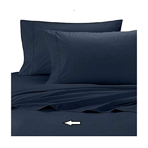 Wamsutta Cool Touch Percale 350 Thread Count 100% Egyptian Cotton Twin Flat Sheet in Navy