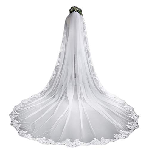 (White Cathedral Wedding Veils Long Lace Edge Bridal Veil with Comb Wedding Accessories Bride Mantilla Wedding Veil)