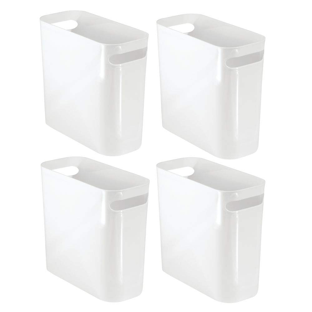mDesign Slim Plastic Rectangular Small Trash Can Wastebasket, Garbage Container Bin with Handles for Bathroom, Kitchen, Home Office, Dorm, Kids Room - 10'' High, Shatter-Resistant - 4 Pack - White by mDesign