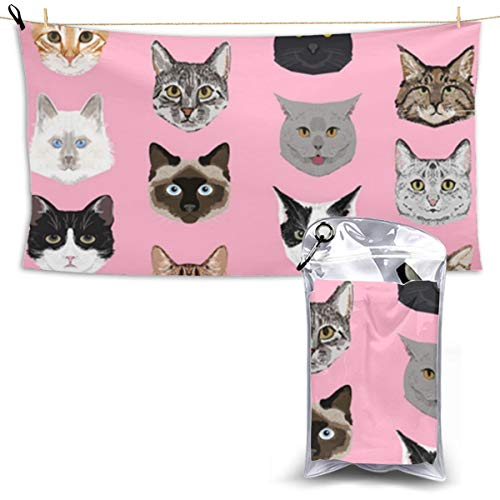 TR2YU7YT Cat Faces Cute Cats Sweet Cute Microfiber Pool Beach Towel - Quick Dry Sport Towel - Travel Towels - Gym Beach Surf Camping Ultra-Light Fast Drying for Personalized Girls Women Men ()