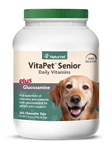 NaturVet -VitaPet Senior Daily Vitamins for Senior Dogs - Plus Glucosamine - Full Spectrum of Vitamins & Minerals - Enhanced with Glucosamine for Added Joint Support - 365 Time Release Tablets
