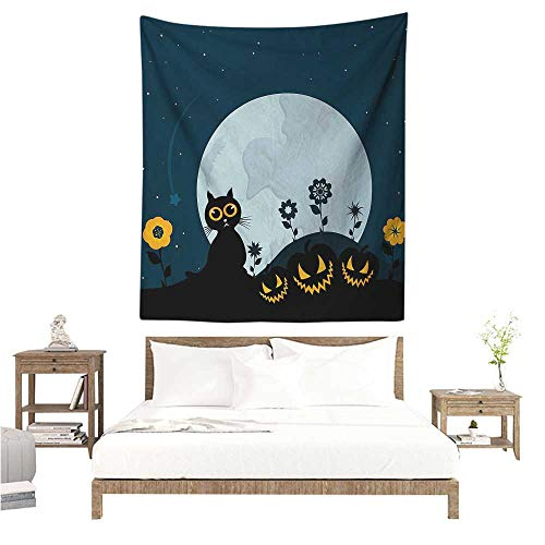 WilliamsDecor Beach Throw Blanket Halloween Cute Cat and Lanterns Moon on Floral Field with Starry Night Sky Star Cartoon Art 54W x 84L INCH Suitable for Bedroom Living Room Dormitory]()