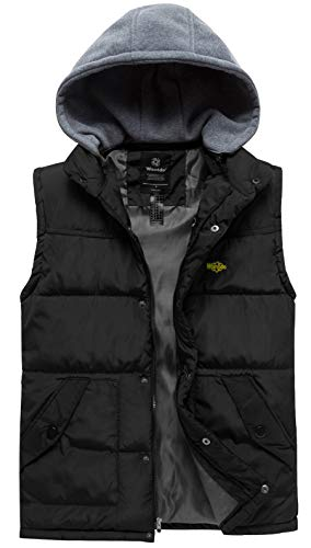 Wantdo Men's Winter Puffer Vest Quilted Padded Winter Sleeveless Jacket with Knitted Hood Black Small ()
