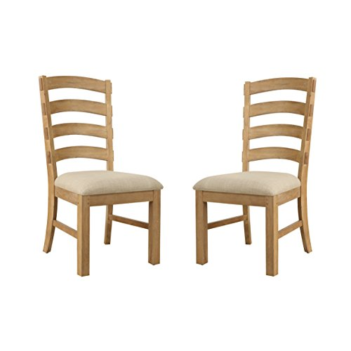 Table Finish Revival Legs (Emerald Home Bel Air Brown Dining Chair with Upholstered Seat And Ladder Back, Set of Two)