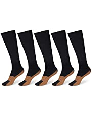 Copper-Infused Therapeutic Compression Socks 5-Pack, Comfortable, Reduce Swelling, Control Odors, Aches Relieve, Achy Feet, Increase Blood Circulation - (Jet Black, Large/X-Large)