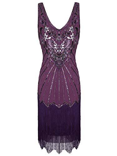 FAIRY COUPLE Women's 1920s Flapper Dress Gatsby Dress V Neck Beaded Fringed Dress Club Dress D20S020(S,Purple)]()
