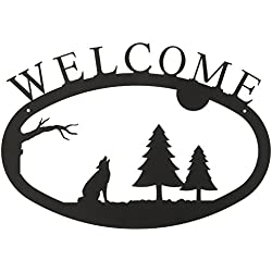 17.5 Inch Timber Wolf Welcome Sign Large